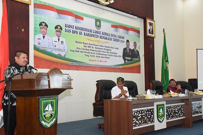 Diskominfotik-Bupati Amril Buka Rakor Camat, Lurah, Kepala Desa dan BPD se Kabupaten Bengkalis || 2019
