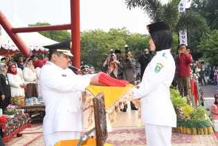Upacara Penurunan Bendera Merah Putih HUT ke-74 RI di Bengkalis Juga Sukses