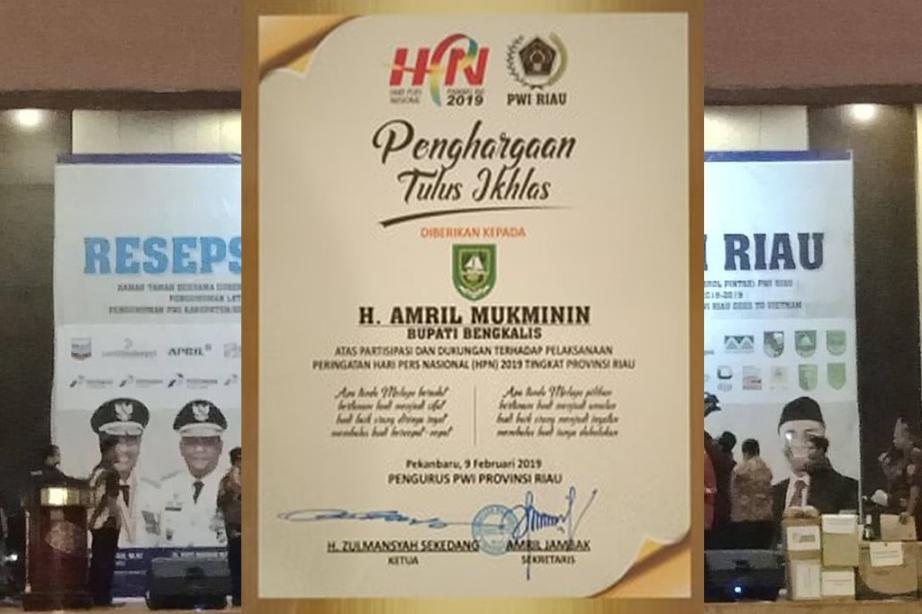 Bupati Amril Mukminin Terima Penghargaan dari PWI Provinsi Riau