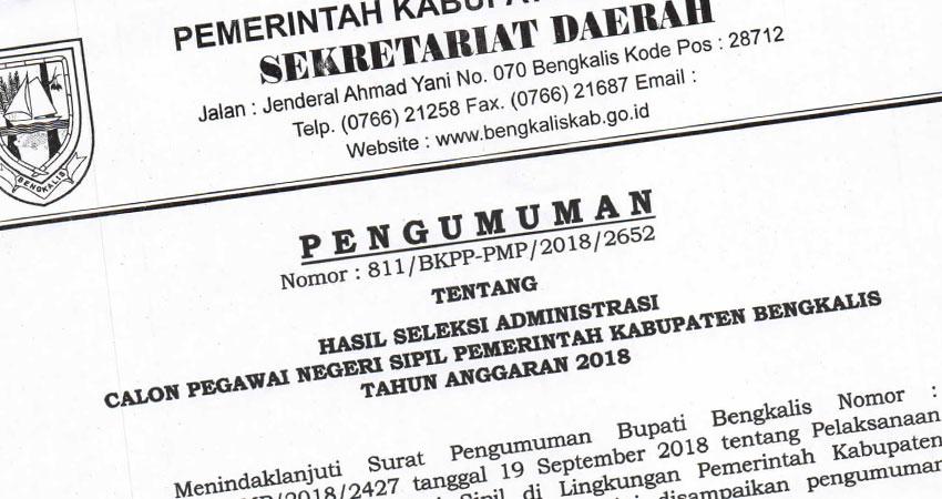 4 382 Pelamar Cpns Di Bengkalis Lulus Administrasi Ini Daftarnya